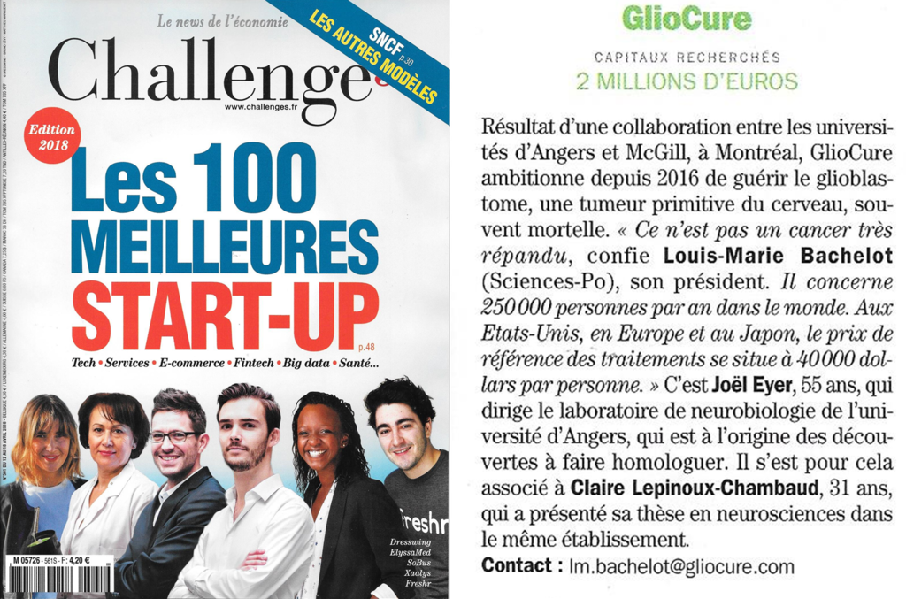 Challenges Les 100 meilleures start-up 2018