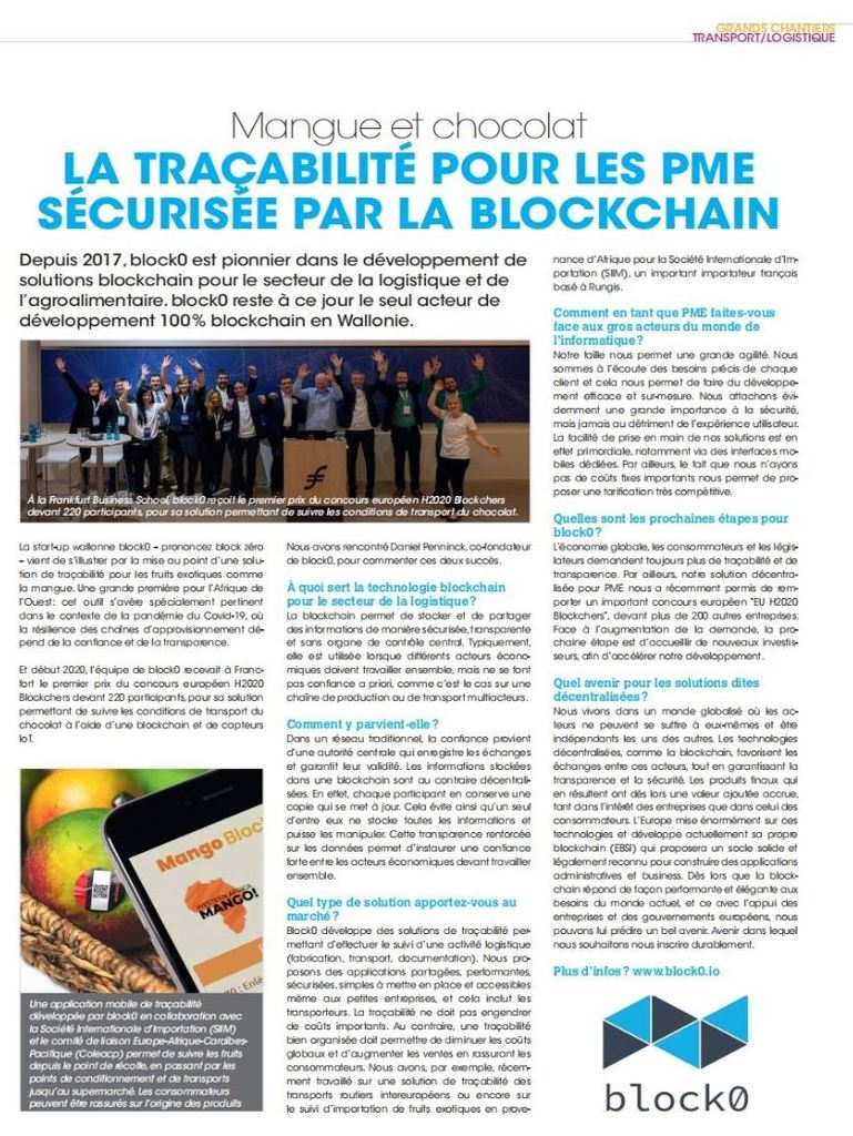 Mango Blockchain - La DH / La Libre - June 5th 2020